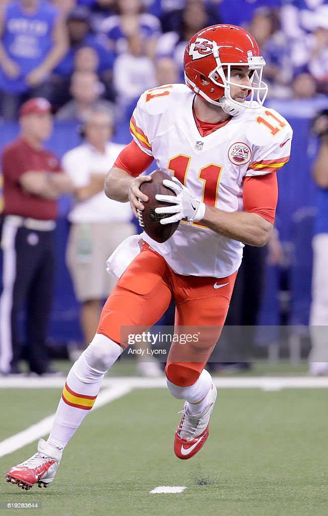 Alex Smith #11 of the Kansas City Chiefs runs with the ball during the first quarter of the game against the Indianapolis Colts at Lucas Oil Stadium on October 30, 2016 in Indianapolis, Indiana.