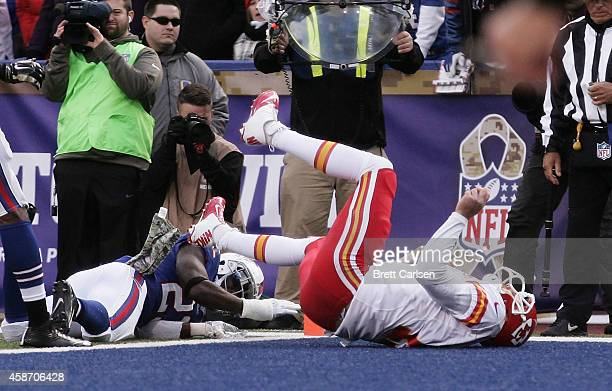 Alex Smith of the Kansas City Chiefs scores a touchdown during the second half against the Buffalo Bills at Ralph Wilson Stadium on November 9 2014...