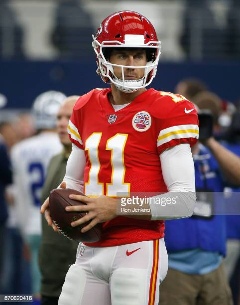 Alex Smith of the Kansas City Chiefs stands on the field during warm ups before the game against the Dallas Cowboys at ATT Stadium on November 5 2017...