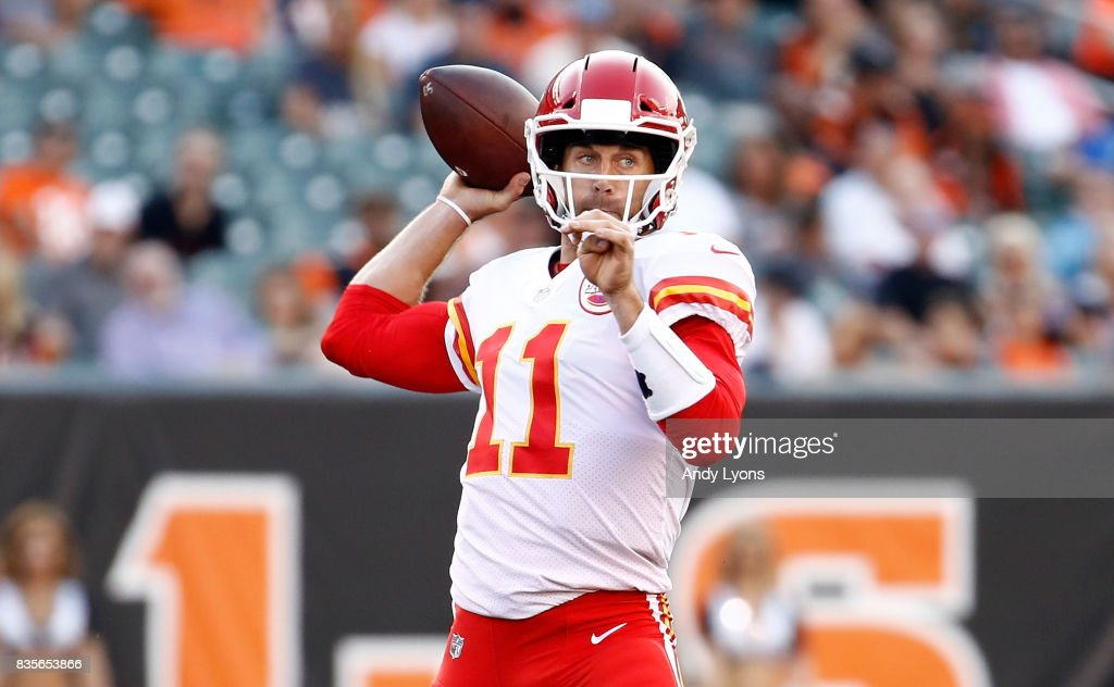 Alex Smith #11 of the Kansas City Chiefs throws a pass during the preseason game against the Cincinnati Bengals at Paul Brown Stadium on August 19, 2017 in Cincinnati, Ohio.