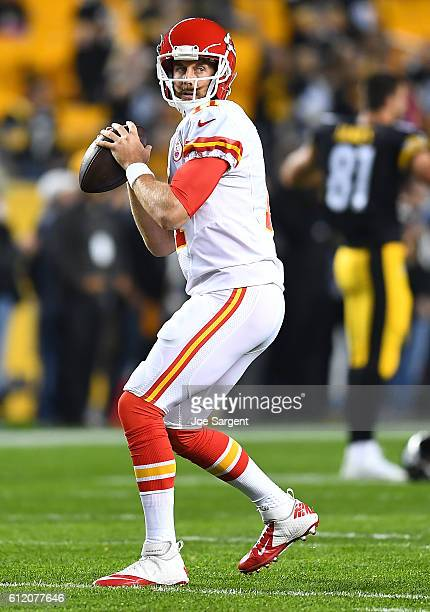 Alex Smith of the Kansas City Chiefs warms up before the game against the Pittsburgh Steelers at Heinz Field on October 2 2016 in Pittsburgh...