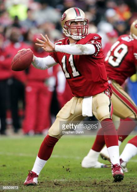 Alex Smith of the San Francisco 49ers passes the ball against the Houston Texans on January 1 2006 at Monster Park in San Francisco California