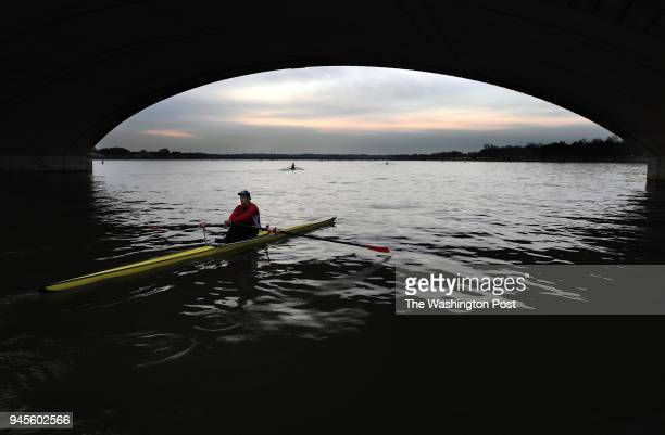 Alex Smith rows under the Arlington Memorial Bridge on Thursday April 12 2018 in Washington DC Smith is part of the high performance program that...
