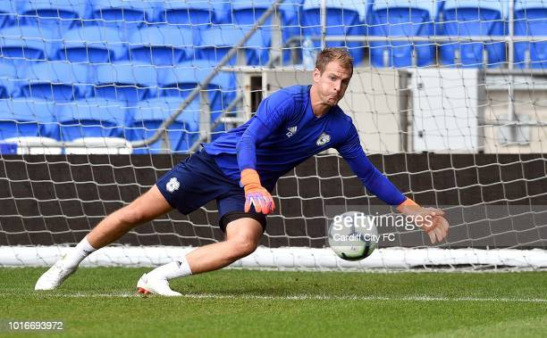 Alex Smithies during the Cardiff City training session at the City of Cardiff Stadium on August 14 2018 in Cardiff Wales