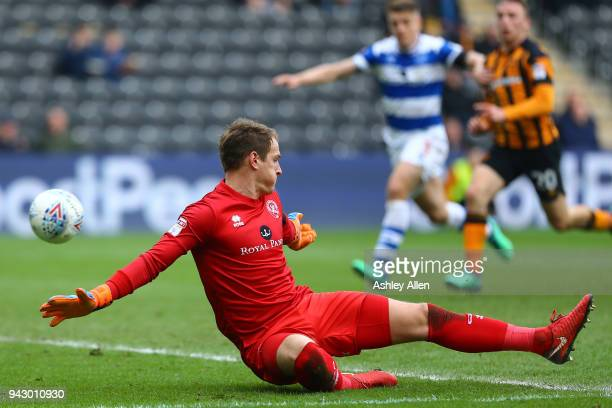 Alex Smithies goalkeeper of Queens Park Rangers is beaten by a shot from Abel Hernandez during the Sky Bet Championship match between Hull City and...