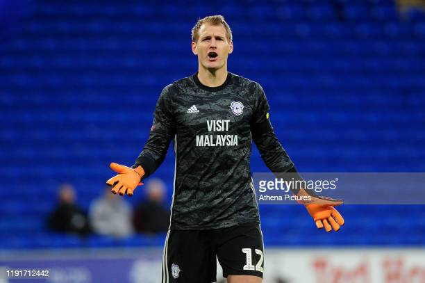 Alex Smithies of Cardiff City during the FA Cup third round match between Cardiff City and Carlisle United at the Cardiff City Stadium on January 04...