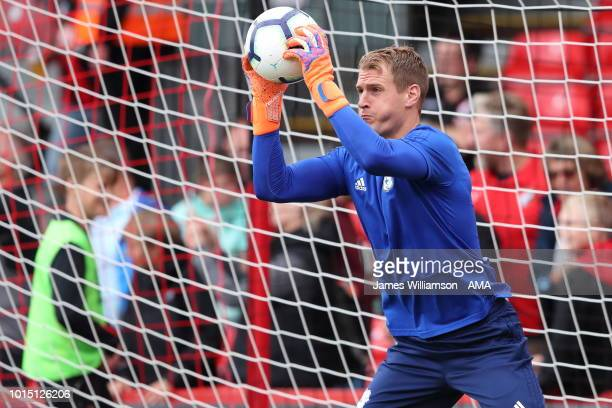 Alex Smithies of Cardiff City during the Premier League match between AFC Bournemouth and Cardiff City at Vitality Stadium on August 11 2018 in...