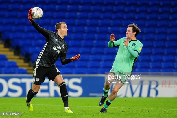 Alex Smithies of Cardiff City in action during the FA Cup third round match between Cardiff City and Carlisle United at the Cardiff City Stadium on...