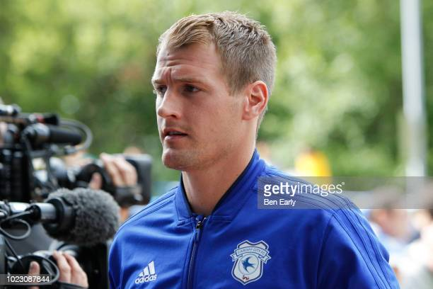 Alex Smithies of Cardiff City on hit return to the John Smiths Stadium during the Premier League match between Huddersfield Town and Cardiff City at...