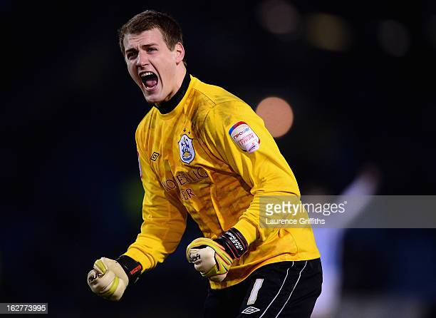 Alex Smithies of Huddersfield Town celebrate the first goal during the npower Championship match between Burnley and Huddersfield Town at Turf Moor...