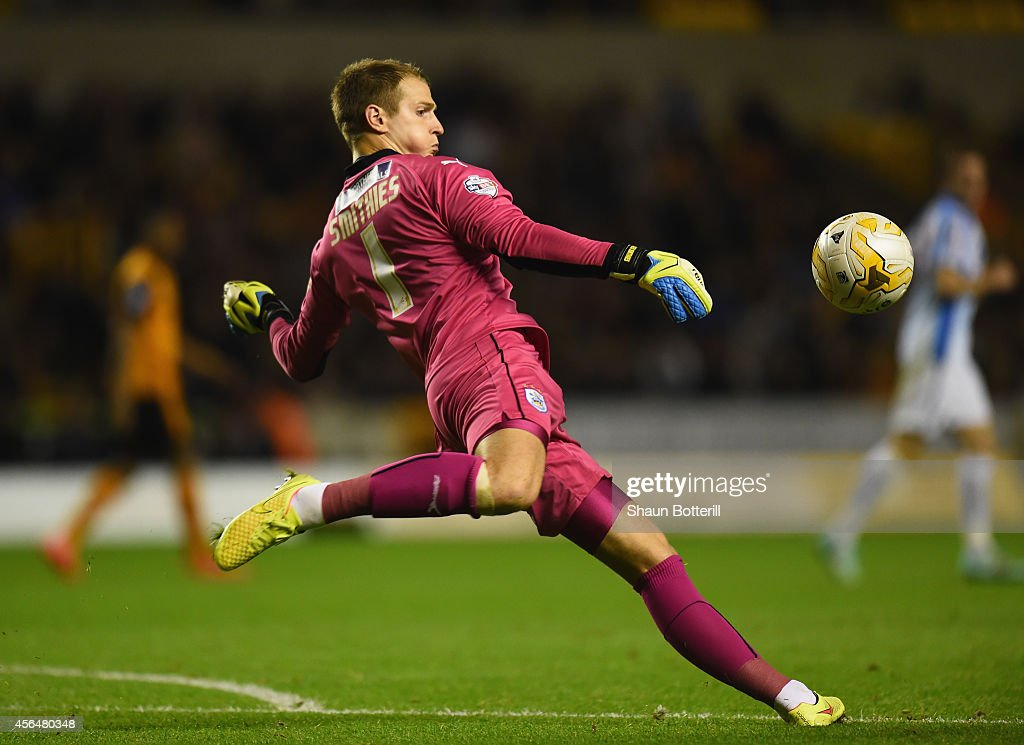 Alex Smithies of Huddersfield Town in action during the Sky Bet Championship match between Wolverhampton Wanderers and Huddersfield Town at Molineux on October 1, 2014 in Wolverhampton, England.