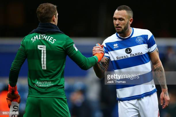 Alex Smithies of QPR and Joel Lynch of QPR shake hands after the Sky Bet Championship match between QPR and Sunderland at Loftus Road on March 10...