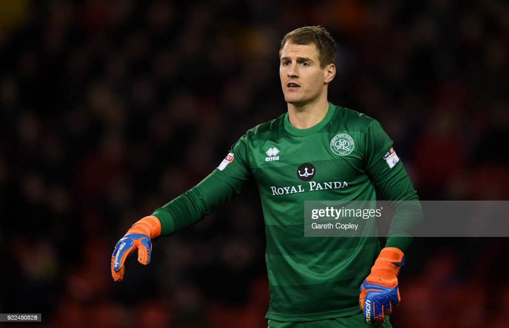 Alex Smithies of QPR during the Sky Bet Championship match between Sheffield United and Queens Park Rangers at Bramall Lane on February 20, 2018 in Sheffield, England.