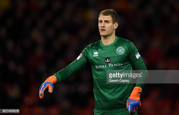 Alex Smithies of QPR during the Sky Bet Championship match between Sheffield United and Queens Park Rangers at Bramall Lane on February 20 2018 in...