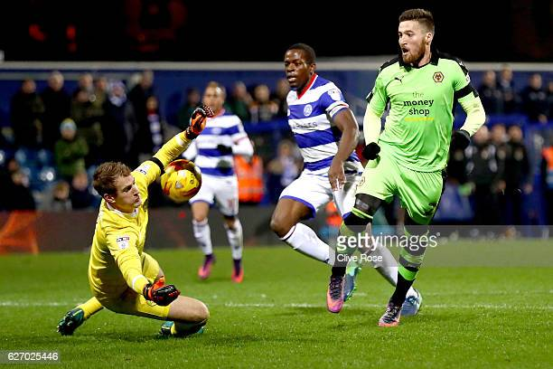 Alex Smithies of QPR saves a shot from Matt Doherty of Wolves during the Sky Bet Championship match between Queens Park Rangers and Wolverhampton...