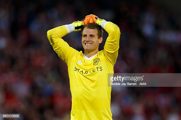 Alex Smithies of Queens Park Rangers during the Sky Bet Championship match between Barnsley and Queens Park Rangers at Oakwell on August 17 2016 in...
