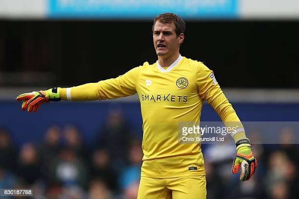 Alex Smithies of Queens Park Rangers gestures during the Sky Bet Championship match between Queens Park Rangers and Aston Villa at Loftus Road on...