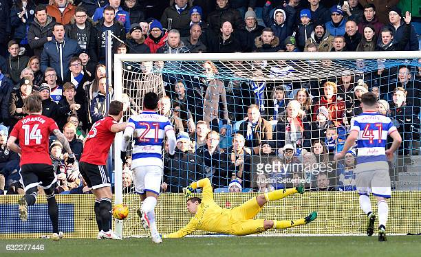 Alex Smithies of Queens Park Rangers saves Chris Martin of Fulham FC penalty during the Sky Bet Championship match between Queens Park Rangers and...
