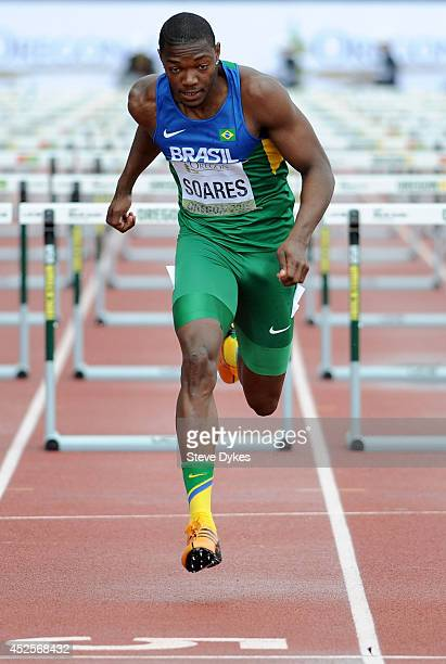 Alex Soares of Brazil looks crosses the finish line in the 110m hurdle portiion of the men's decathlon during day two of the IAAF World Junior...