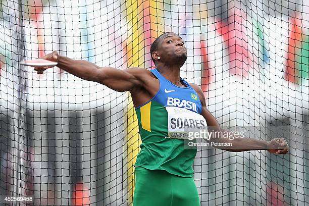 Alex Soares of Brazil throws the discus in the discus portion of the men's decathlon during day two of the IAAF World Junior Championships at Hayward...