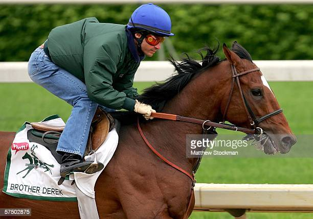 Alex Solis rides Brother Derek during morning workouts in preparation for the 132nd Kentucky Derby May 1 2006 at Churchill Downs in Louisville...