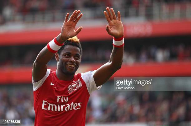 Alex Song of Arsenal celebrates his goal with team mate Bacary Sagna during the Barclays Premier League match between Arsenal and Bolton Wanderers at...