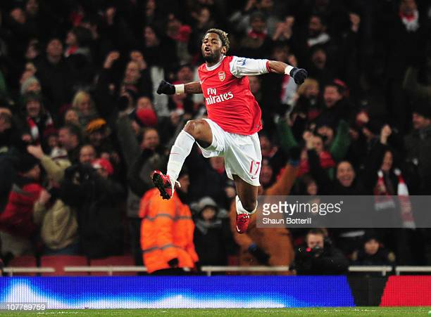 Alex Song of Arsenal celebrates scoring the opening goal during the Barclays Premier League match between Arsenal and Chelsea at the Emirates Stadium...