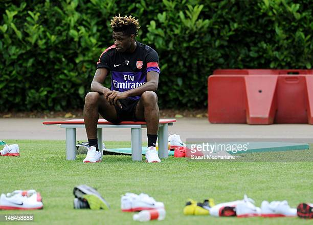 Alex Song of Arsenal during a training session at London Colney on July 17 2012 in St Albans England