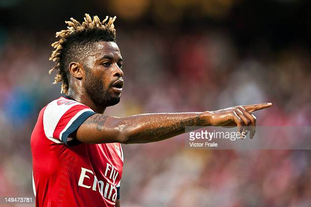 Alex Song of Arsenal FC reacts during the pre-season Asian Tour friendly match between Kitchee FC and Arsenal at Hong Kong Stadium on July 29, 2012...