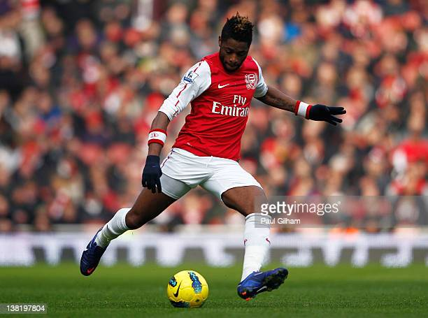 Alex Song of Arsenal in action during the Barclays Premier League match between Arsenal and Blackburn Rovers at Emirates Stadium on February 4 2012...