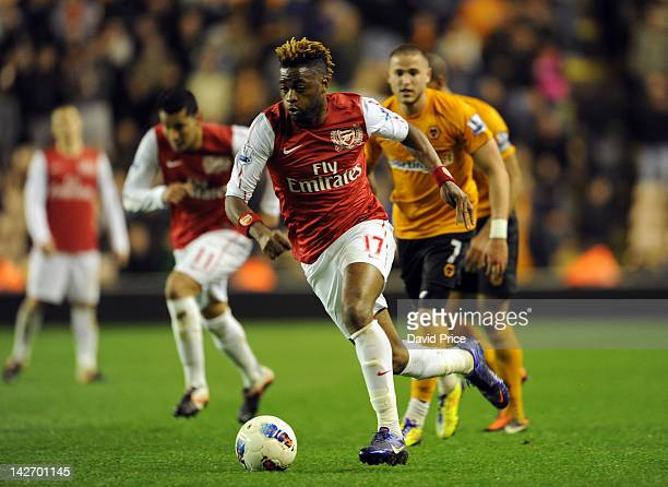 Alex Song of Arsenal in action during the Barclays Premier League match between Wolverhampton Wanderers and Arsenal at Molineux on April 11 2012 in...