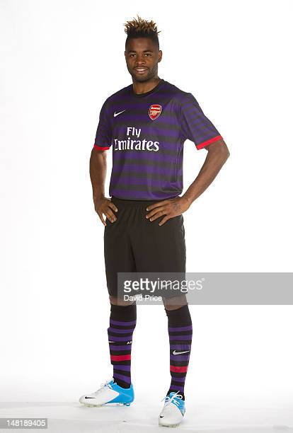 Alex Song of Arsenal models the new Arsenal away kit at London Colney on April 26 2012 in St Albans England