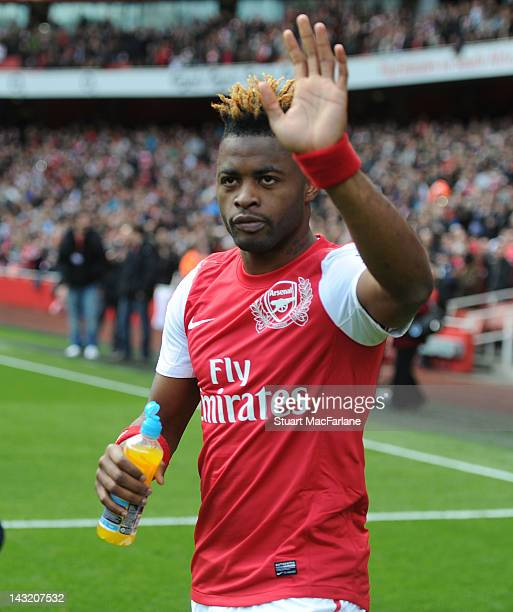 Alex Song of Arsenal waves before the Barclays Premier League match between Arsenal and Chelsea at Emirates Stadium on April 21 2012 in London England