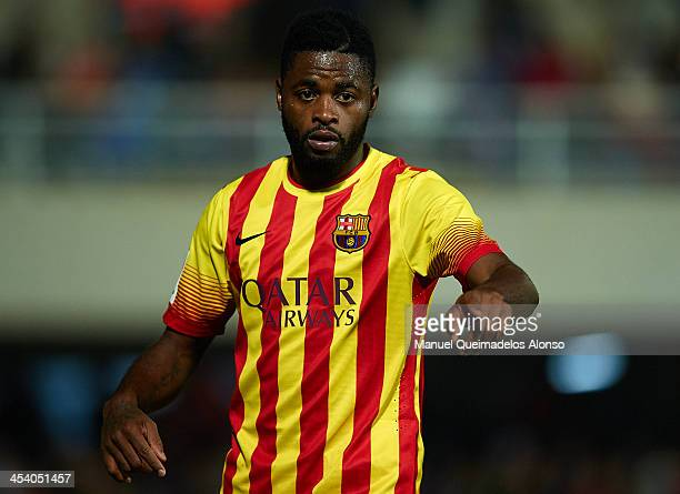 Alex Song of Barcelona reacts during the Copa del Rey, Round of 32 match between FC Cartagena and FC Barcelona at Estadio Cartagonova on December 06,...