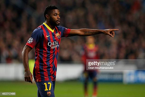 Alex Song of Barcelona speaks to a team mate during the UEFA Champions League Group H match between Ajax Amsterdam and FC Barcelona at Amsterdam...