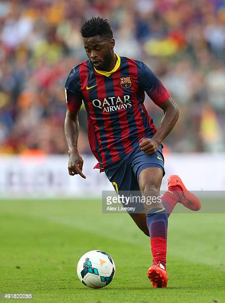 Alex Song of FC Barcelona during the La Liga match between FC Barcelona and Club Atletico de Madrid at Camp Nou on May 17 2014 in Barcelona Spain