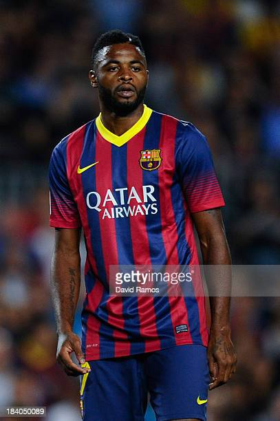 Alex Song of FC Barcelona looks on during the La Liga match between FC Barcelona and Real Valladolid CF at Camp Nou on October 5, 2013 in Barcelona,...