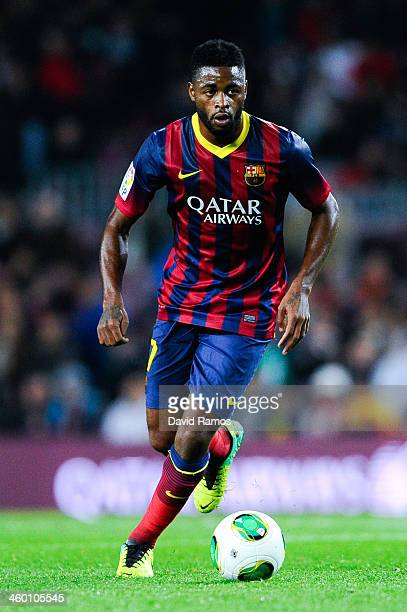 Alex Song of FC Barcelona runs with the ball during the Copa del Rey round of 32 second leg match between FC Barcelona and Cartagena at Camp Nou on...