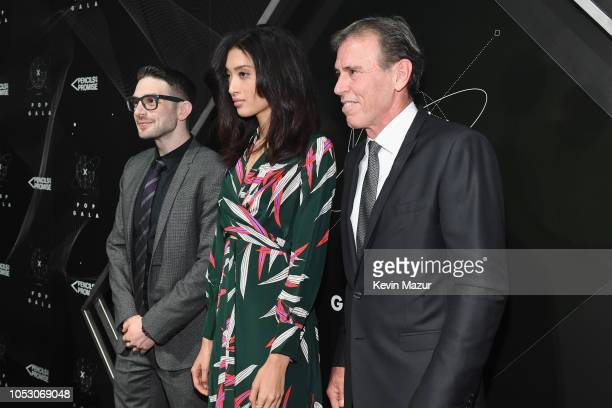 Alex Soros Aqua Parios and Ervin Braun attend the Pencils of Promise 10th Anniversary Gala at the Duggal Greenhouse on October 24 2018 in New York...
