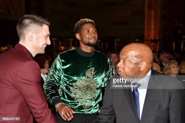 Alex Soros Usher and John Lewis attend the Gordon Parks Foundation Awards Dinner Auction at Cipriani 42nd Street on June 6 2017 in New York City