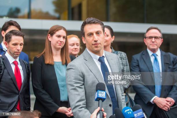 Alex Spiro leader of Elon Musk attorneys team talks to the press as he leaves the US District Court Central District of California in Los Angeles on...