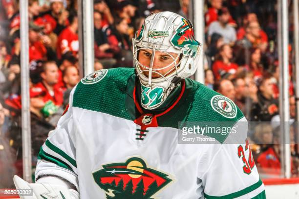 Alex Stalock of the Minnesota Wild in an NHL game against the Calgary Flames at the Scotiabank Saddledome on October 21 2017 in Calgary Alberta Canada