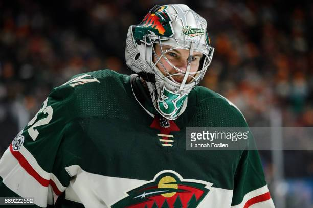 Alex Stalock of the Minnesota Wild looks on during the game against the Winnipeg Jets on October 31 2017 at Xcel Energy Center in St Paul Minnesota...