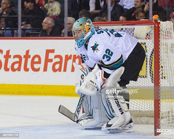 Alex Stalock of the San Jose Sharks in action against the Calgary Flames during an NHL game at Scotiabank Saddledome on March 24 2014 in Calgary...