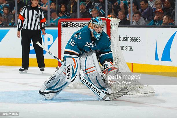 Alex Stalock of the San Jose Sharks protects the net against the Colorado Avalanche at SAP Center on April 11 2014 in San Jose California