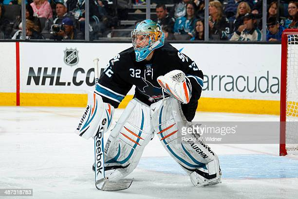 Alex Stalock of the San Jose Sharks protects the net against the Los Angeles Kings in Game Five of the First Round of the 2014 NHL Stanley Cup...