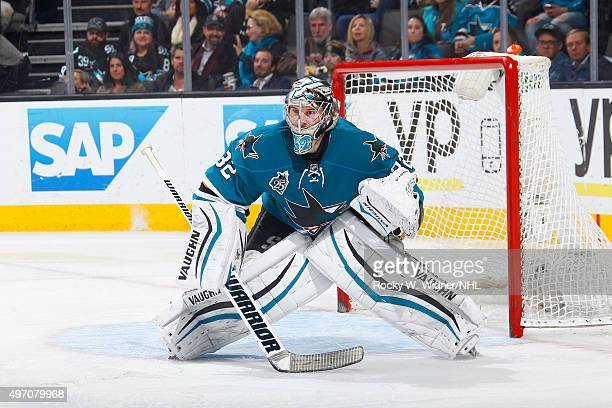 Alex Stalock of the San Jose Sharks protects the net against the New York Islanders at SAP Center on November 10 2015 in San Jose California