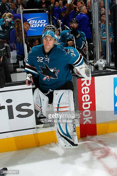 Alex Stalock of the San Jose Sharks skates back onto the ice after defeating the Colorado Avalanche at SAP Center on April 11 2014 in San Jose...