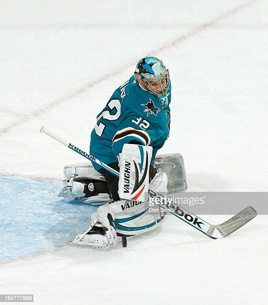 Alex Stalock of the San Jose Sharks warms up before the game against the New York Rangers during an NHL game on October 8 2013 at SAP Center in San...