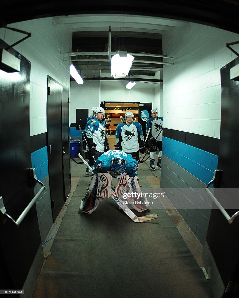 Alex Stalock #32 of the Worcester Sharks gets ready to take the ice for action against the Charlotte Checkers at the DCU Center on November 27, 2010 in Worcester Massachusetts.